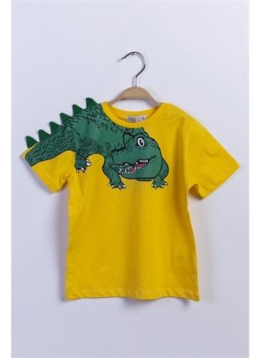 Toontoy Kids Toontoy Erkek Çocuk Timsah Baskılı Tişört Sarı